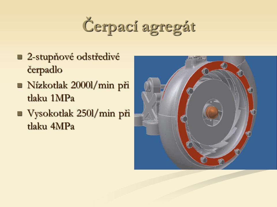 Čerpací agregát 2-stupňové odstředivé čerpadlo 2-stupňové odstředivé čerpadlo Nízkotlak 2000l/min při tlaku 1MPa Nízkotlak 2000l/min při tlaku 1MPa Vysokotlak 250l/min při tlaku 4MPa Vysokotlak 250l/min při tlaku 4MPa