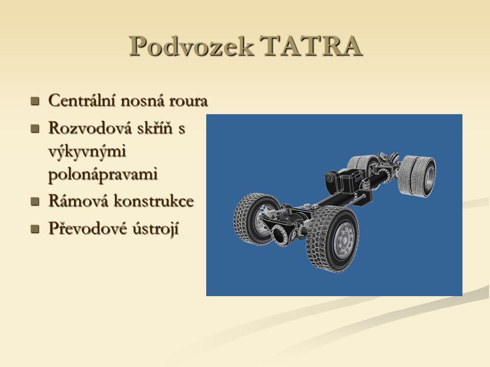 Podvozek TATRA Centrální nosná roura Centrální nosná roura Rozvodová skříň s výkyvnými polonápravami Rozvodová skříň s výkyvnými polonápravami Rámová konstrukce Rámová konstrukce Převodové ústrojí Převodové ústrojí