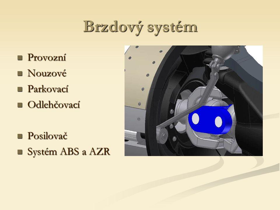 Brzdový systém Provozní Provozní Nouzové Nouzové Parkovací Parkovací Odlehčovací Odlehčovací Posilovač Posilovač Systém ABS a AZR Systém ABS a AZR