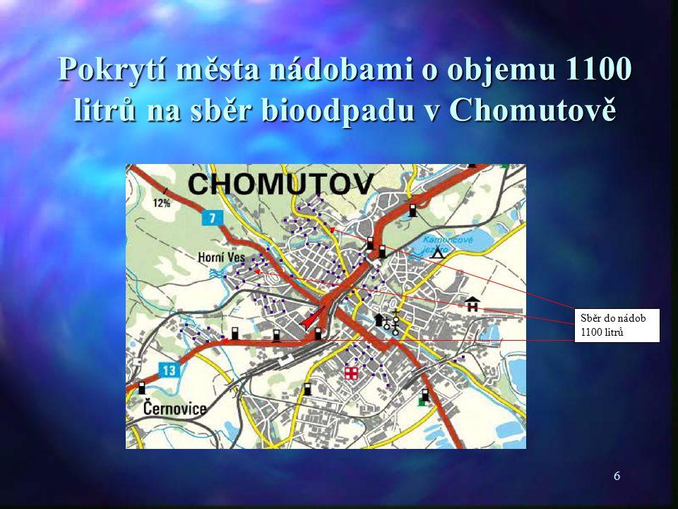 6 Pokrytí města nádobami o objemu 1100 litrů na sběr bioodpadu v Chomutově Sběr do nádob 1100 litrů