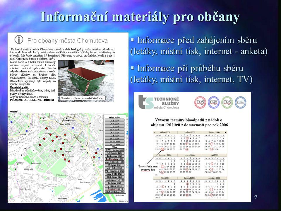 7 Informační materiály pro občany  Informace před zahájením sběru (letáky, místní tisk, internet - anketa)  Informace při průběhu sběru (letáky, místní tisk, internet, TV)
