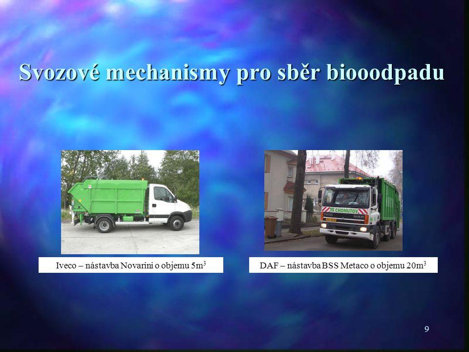 9 Svozové mechanismy pro sběr biooodpadu Iveco – nástavba Novarini o objemu 5m 3 DAF – nástavba BSS Metaco o objemu 20m 3
