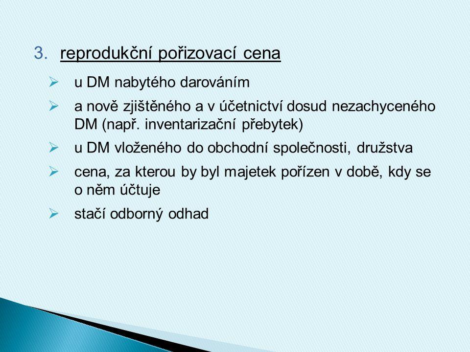 3.reprodukční pořizovací cena  u DM nabytého darováním  a nově zjištěného a v účetnictví dosud nezachyceného DM (např. inventarizační přebytek)  u