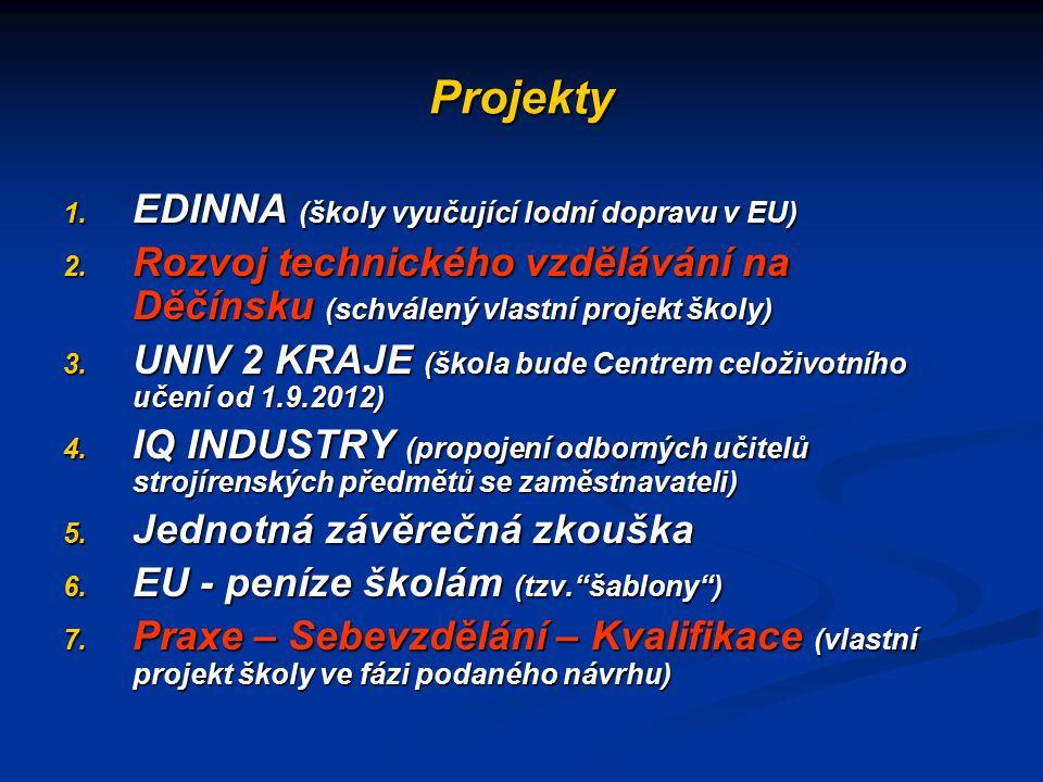 Projekty 1. EDINNA (školy vyučující lodní dopravu v EU) 2. Rozvoj technického vzdělávání na Děčínsku (schválený vlastní projekt školy) 3. UNIV 2 KRAJE