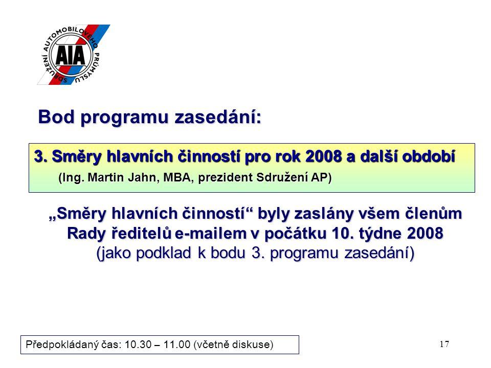 17 Bod programu zasedání: 3. Směry hlavních činností pro rok 2008 a další období (Ing. Martin Jahn, MBA, prezident Sdružení AP) Předpokládaný čas: 10.