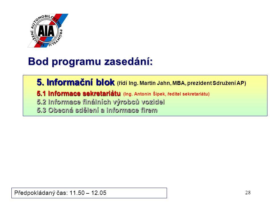 28 Bod programu zasedání: 5. Informační blok 5. Informační blok (řídí Ing. Martin Jahn, MBA, prezident Sdružení AP) 5.1 Informace sekretariátu 5.1 Inf