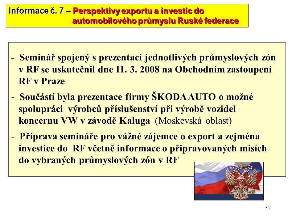 37 - Seminář spojený s prezentací jednotlivých průmyslových zón v RF se uskutečnil dne 11. 3. 2008 na Obchodním zastoupení RF v Praze - Součástí byla