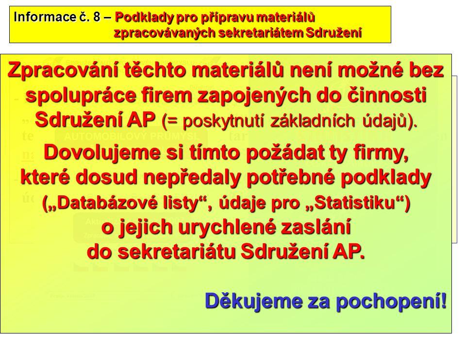 """38 - Byly rozeslány """"Databázové listy"""" pro zpracování materiálu """"Automobilový průmysl ČR- aktualizace za rok 2007"""", termín pro zpětné zaslání sekretar"""