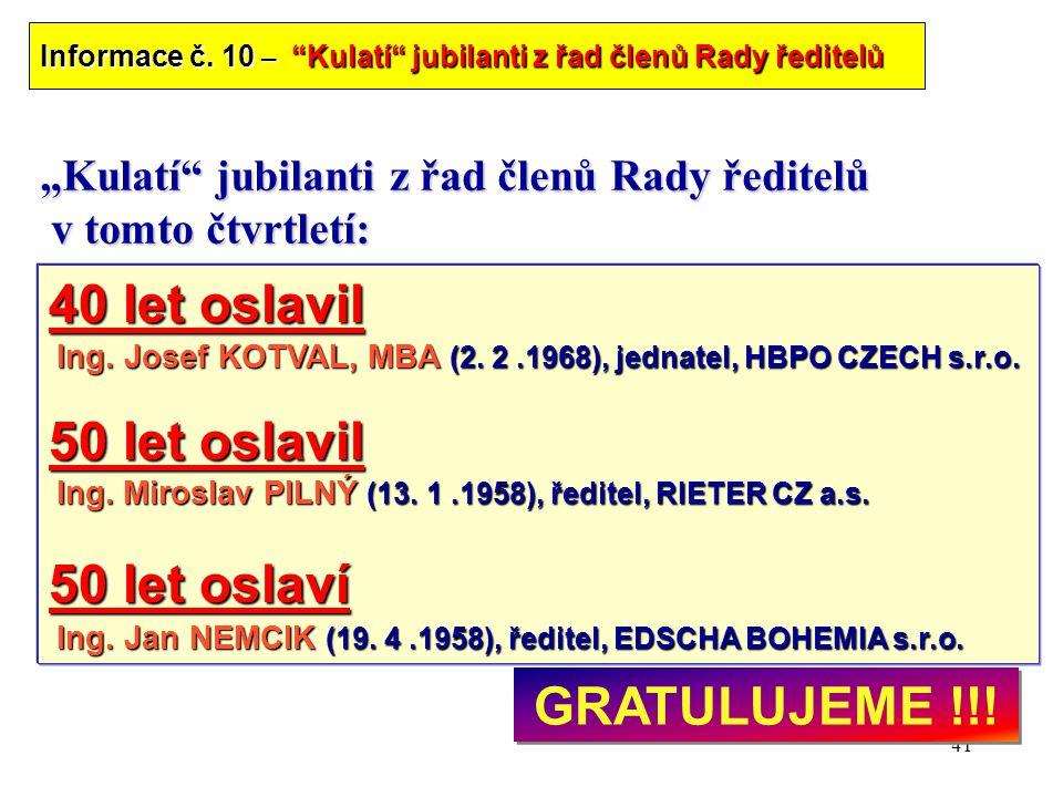 """41 """"Kulatí"""" jubilanti z řad členů Rady ředitelů v tomto čtvrtletí: 40 let oslavil Ing. Josef KOTVAL, MBA (2. 2.1968), jednatel, HBPO CZECH s.r.o. Ing."""
