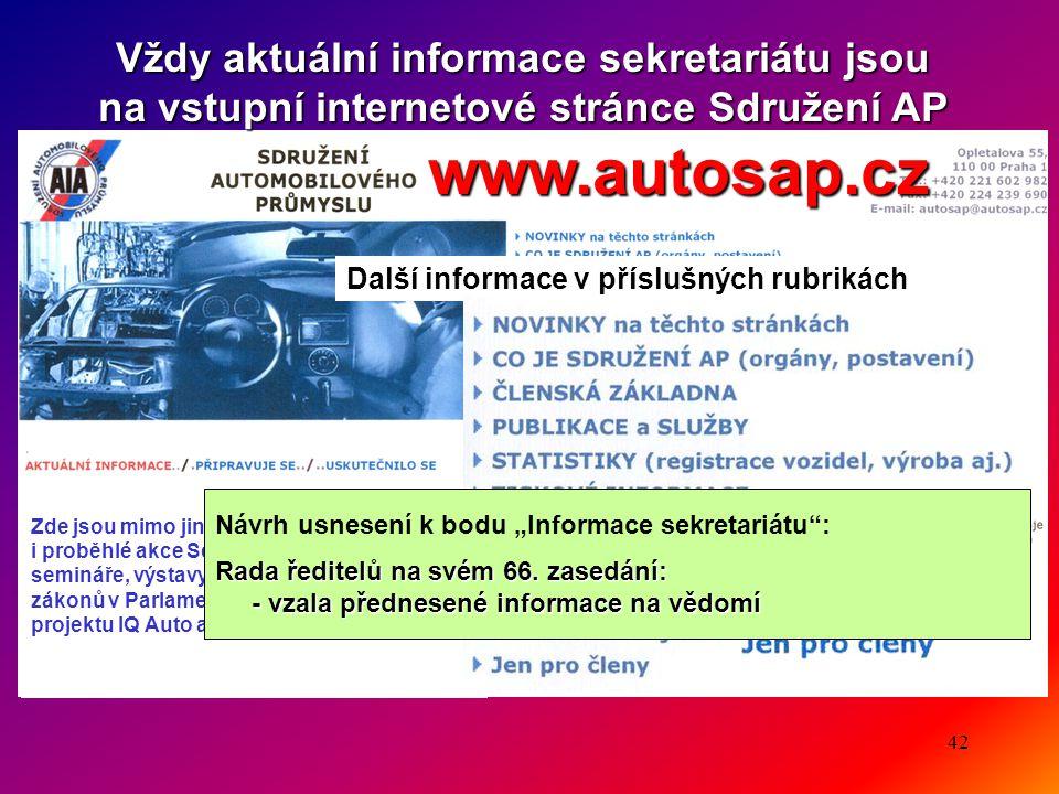42 Vždy aktuální informace sekretariátu jsou na vstupní internetové stránce Sdružení AP www.autosap.cz www.autosap.cz Další informace v příslušných ru