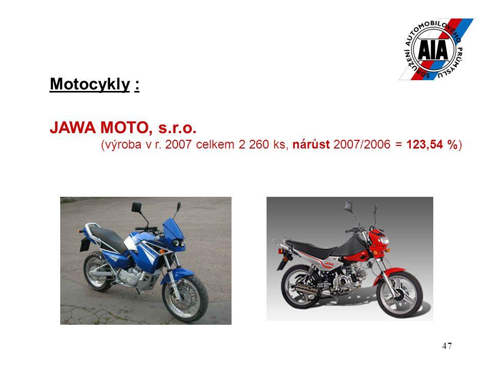 47 Motocykly : JAWA MOTO, s.r.o. (výroba v r. 2007 celkem 2 260 ks, nárůst 2007/2006 = 123,54 %)