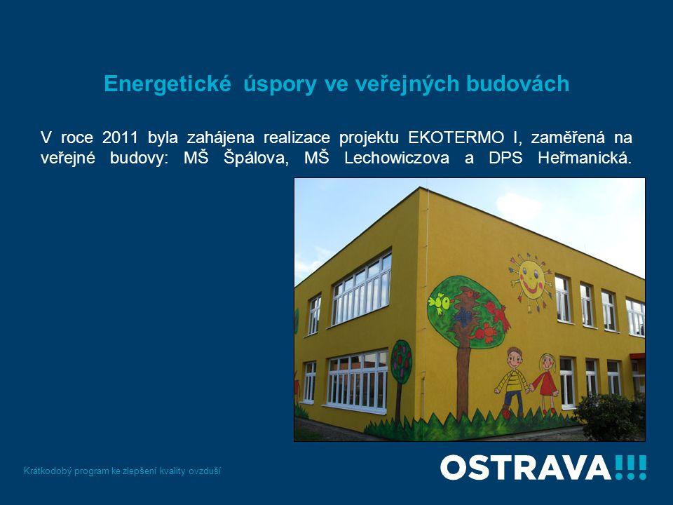 Energetické úspory ve veřejných budovách V roce 2011 byla zahájena realizace projektu EKOTERMO I, zaměřená na veřejné budovy: MŠ Špálova, MŠ Lechowiczova a DPS Heřmanická.
