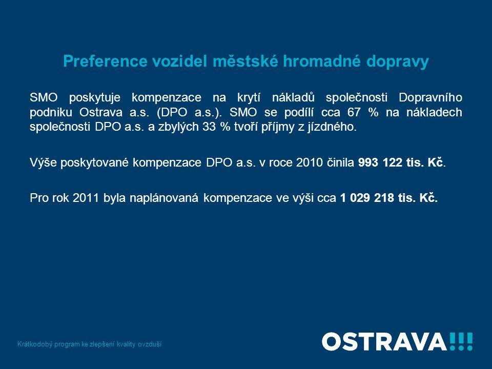 Preference vozidel městské hromadné dopravy SMO poskytuje kompenzace na krytí nákladů společnosti Dopravního podniku Ostrava a.s.