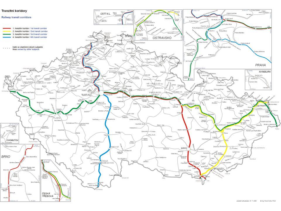 ŽELEZNIČNÍ KORIDORY I. koridorI. koridor Německo – Děčín – Praha – Česká Třebová – Brno – Břeclav – Rakousko / Slovensko II. koridorII. koridor Rakous