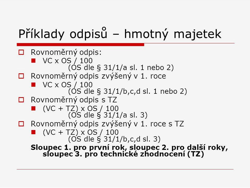 Příklady odpisů – hmotný majetek  Rovnoměrný odpis: VC x OS / 100 (OS dle § 31/1/a sl. 1 nebo 2)  Rovnoměrný odpis zvýšený v 1. roce VC x OS / 100 (