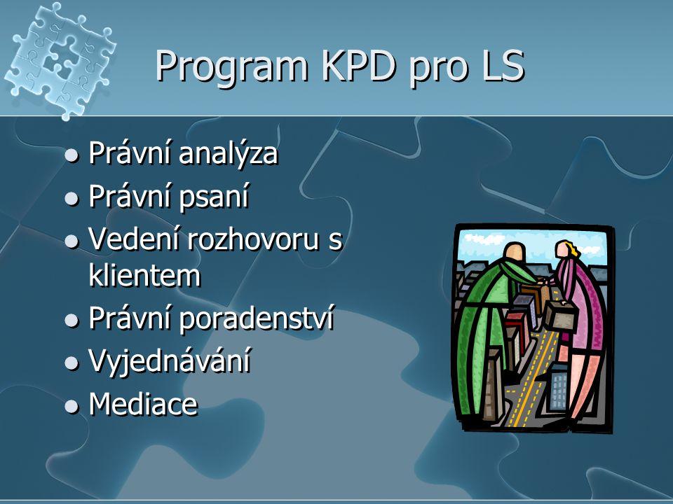 Program KPD pro LS Právní analýza Právní psaní Vedení rozhovoru s klientem Právní poradenství Vyjednávání Mediace Právní analýza Právní psaní Vedení rozhovoru s klientem Právní poradenství Vyjednávání Mediace