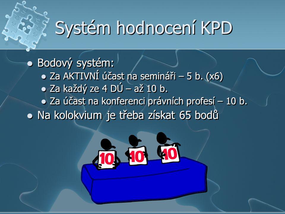 Systém hodnocení KPD Bodový systém: Za AKTIVNÍ účast na semináři – 5 b. (x6) Za každý ze 4 DÚ – až 10 b. Za účast na konferenci právních profesí – 10