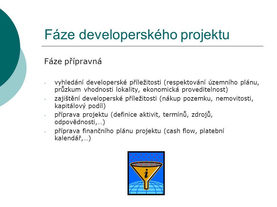 Fáze developerského projektu Fáze přípravná - vyhledání developerské příležitosti (respektování územního plánu, průzkum vhodnosti lokality, ekonomická