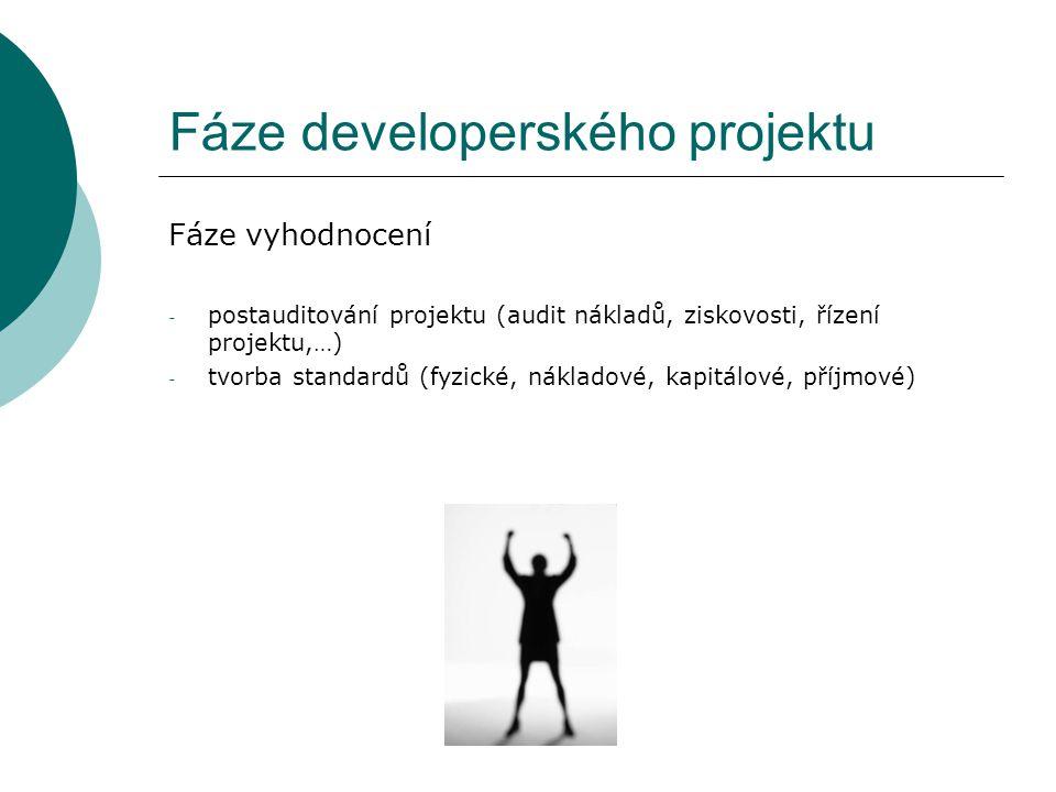 Fáze developerského projektu Fáze vyhodnocení - postauditování projektu (audit nákladů, ziskovosti, řízení projektu,…) - tvorba standardů (fyzické, ná