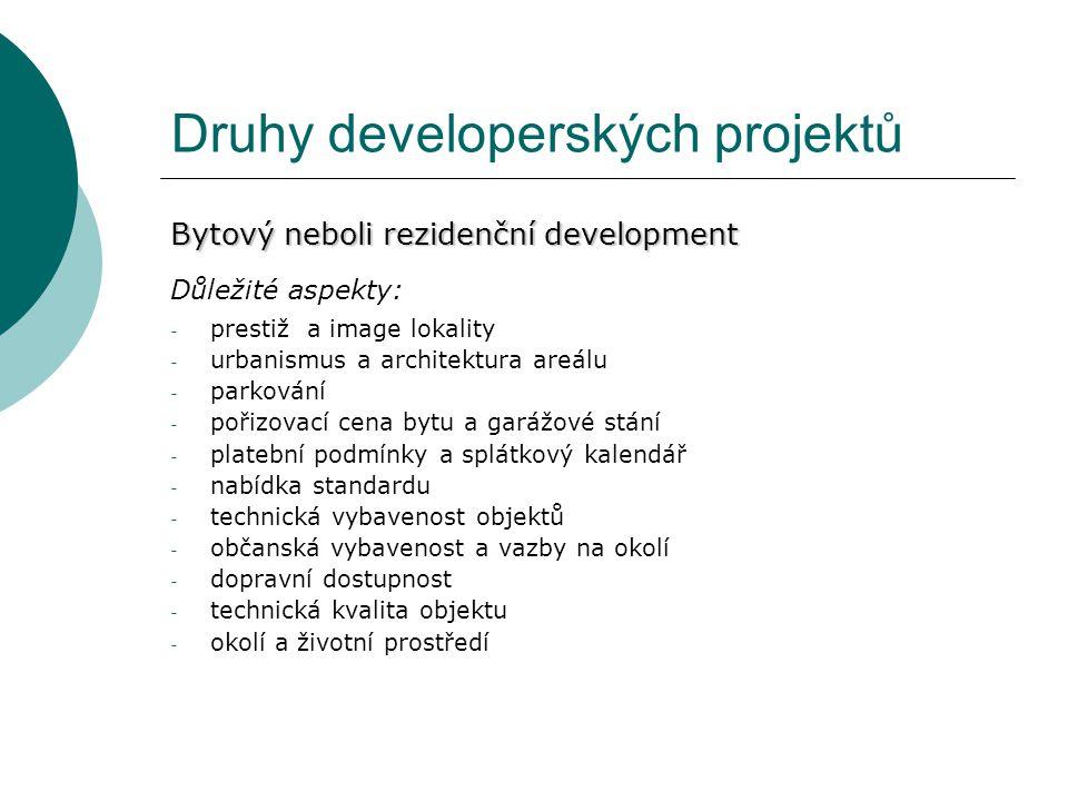 Druhy developerských projektů Bytový neboli rezidenční development Důležité aspekty: - prestiž a image lokality - urbanismus a architektura areálu - p