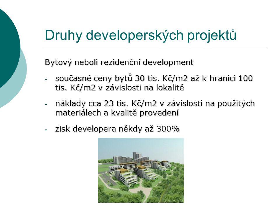 Druhy developerských projektů Bytový neboli rezidenční development - současné ceny bytů 30 tis. Kč/m2 až k hranici 100 tis. Kč/m2 v závislosti na loka