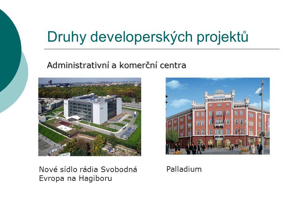 Druhy developerských projektů Administrativní a komerční centra Nové sídlo rádia Svobodná Evropa na Hagiboru Palladium
