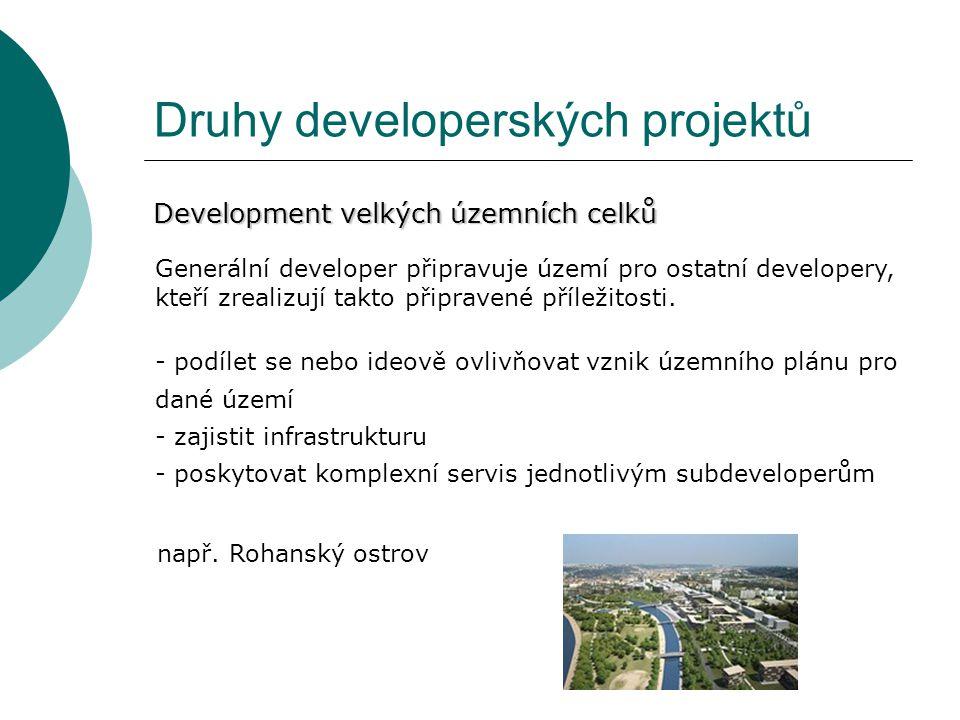 Druhy developerských projektů Development velkých územních celků Generální developer připravuje území pro ostatní developery, kteří zrealizují takto p