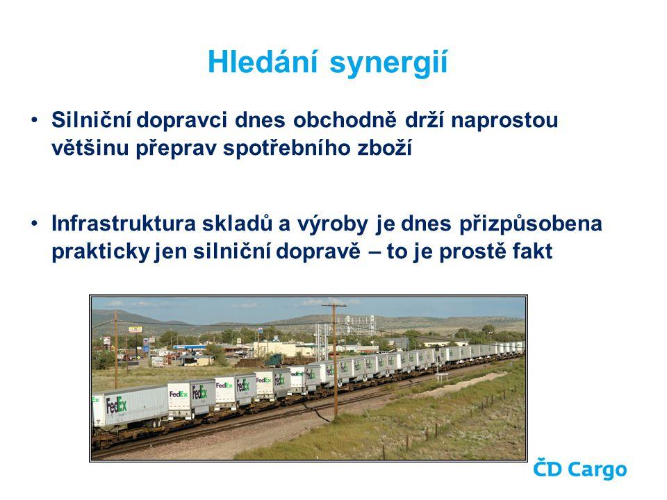 Silniční dopravci dnes obchodně drží naprostou většinu přeprav spotřebního zboží Infrastruktura skladů a výroby je dnes přizpůsobena prakticky jen silniční dopravě – to je prostě fakt Hledání synergií