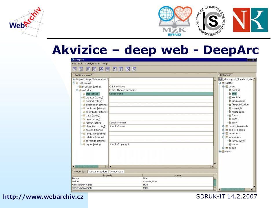 http://www.webarchiv.cz SDRUK-IT 14.2.2007 Akvizice – deep web - DeepArc