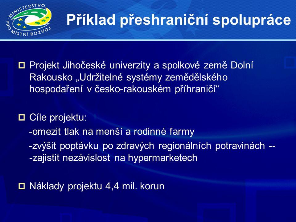 """Příklad přeshraniční spolupráce Projekt Jihočeské univerzity a spolkové země Dolní Rakousko """"Udržitelné systémy zemědělského hospodaření v česko-rakouském příhraničí Cíle projektu: -omezit tlak na menší a rodinné farmy -zvýšit poptávku po zdravých regionálních potravinách -- -zajistit nezávislost na hypermarketech Náklady projektu 4,4 mil."""