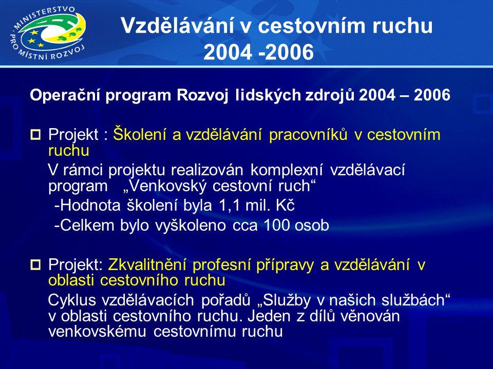 Vzdělávání v cestovním ruchu 2004 -2006 Operační program Rozvoj lidských zdrojů 2004 – 2006 Projekt : Školení a vzdělávání pracovníků v cestovním ruch