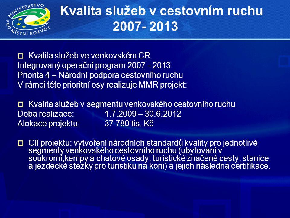 Kvalita služeb v cestovním ruchu 2007- 2013 Kvalita služeb ve venkovském CR Integrovaný operační program 2007 - 2013 Priorita 4 – Národní podpora cest