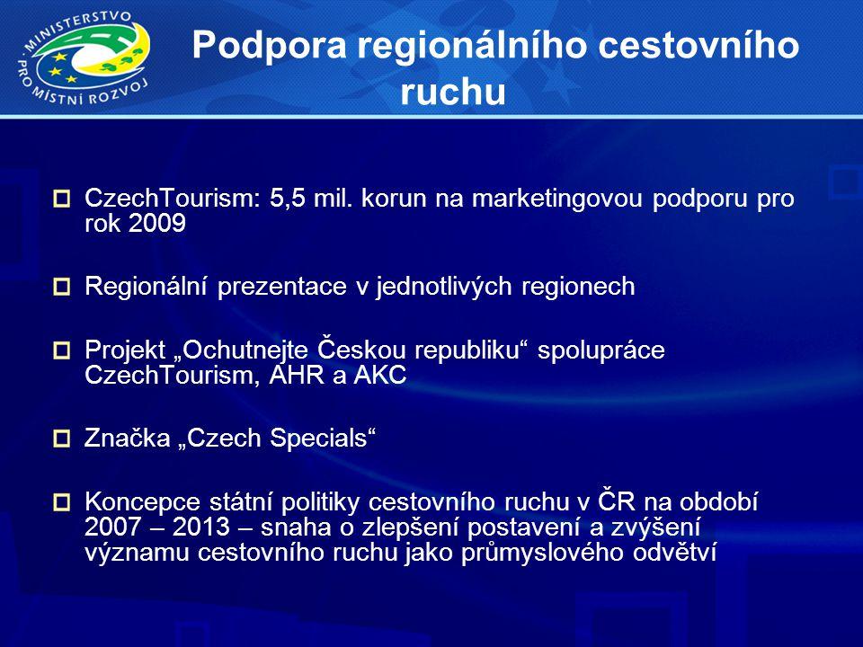 Podpora regionálního cestovního ruchu CzechTourism: 5,5 mil. korun na marketingovou podporu pro rok 2009 Regionální prezentace v jednotlivých regionec