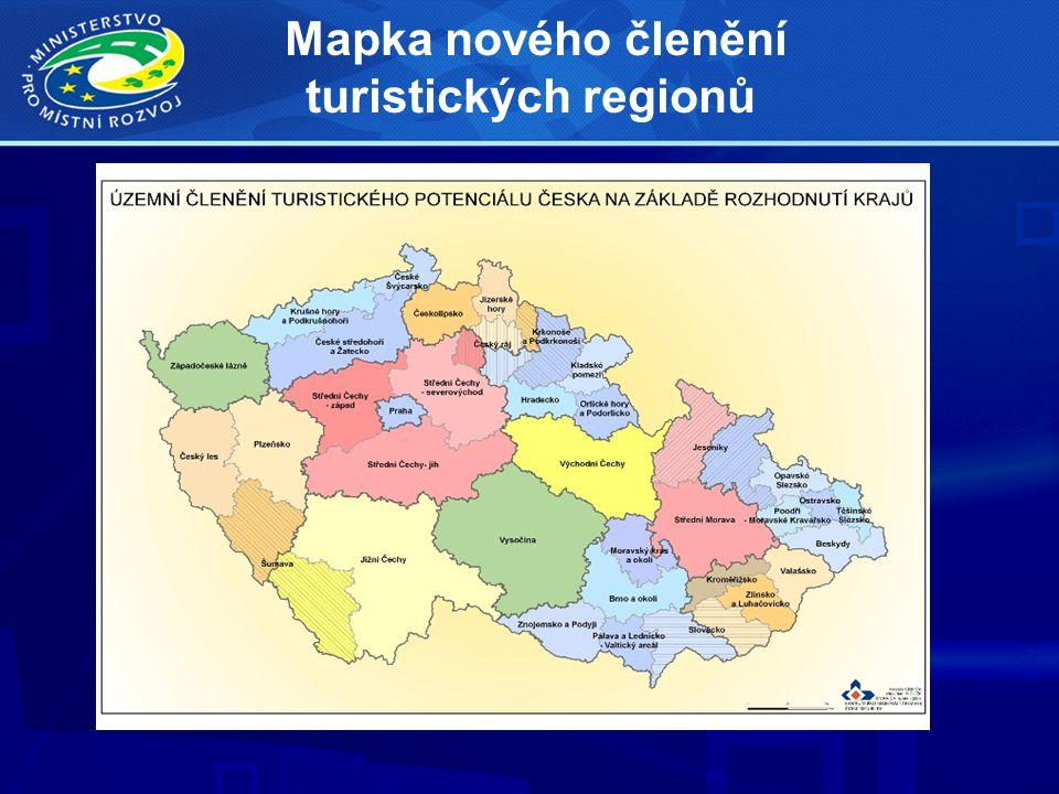 Mapka nového členění turistických regionů