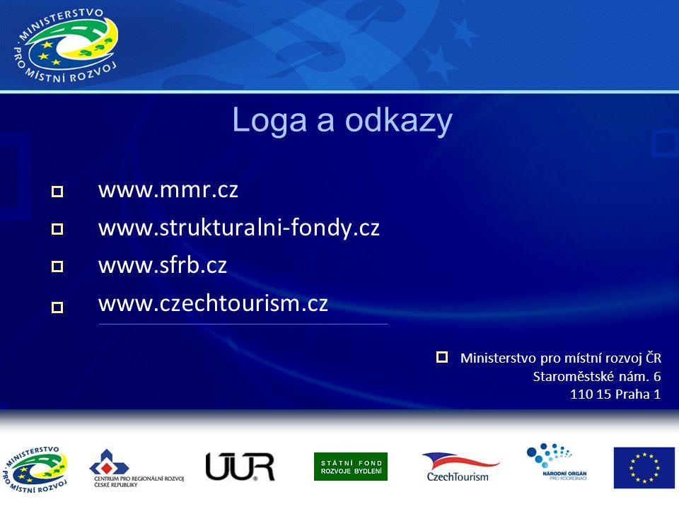 Loga a odkazy www.mmr.cz www.strukturalni-fondy.cz www.sfrb.cz www.czechtourism.cz Ministerstvo pro místní rozvoj ČR Staroměstské nám. 6 110 15 Praha