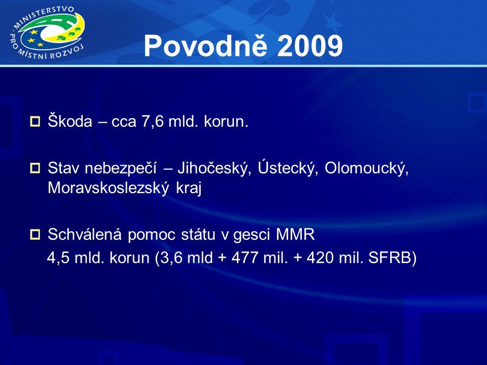 Povodně 2009 Škoda – cca 7,6 mld. korun. Stav nebezpečí – Jihočeský, Ústecký, Olomoucký, Moravskoslezský kraj Schválená pomoc státu v gesci MMR 4,5 ml