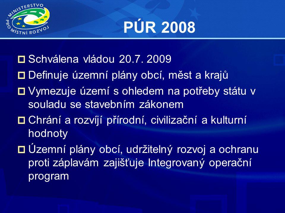 PÚR 2008 Schválena vládou 20.7. 2009 Definuje územní plány obcí, měst a krajů Vymezuje území s ohledem na potřeby státu v souladu se stavebním zákonem