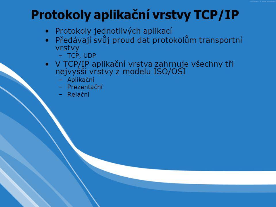 Protokoly jednotlivých aplikací Předávají svůj proud dat protokolům transportní vrstvy –TCP, UDP V TCP/IP aplikační vrstva zahrnuje všechny tři nejvyšší vrstvy z modelu ISO/OSI –Aplikační –Prezentační –Relační Protokoly aplikační vrstvy TCP/IP