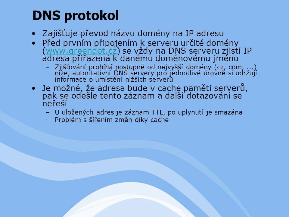 Zajišťuje převod názvu domény na IP adresu Před prvním připojením k serveru určité domény (www.greendot.cz) se vždy na DNS serveru zjistí IP adresa přiřazená k danému doménovému jménuwww.greendot.cz –Zjišťování probíhá postupně od nejvyšší domény (cz, com,...) níže, autoritativní DNS servery pro jednotlivé úrovně si udržují informace o umístění nižších serverů Je možné, že adresa bude v cache paměti serverů, pak se odešle tento záznam a další dotazování se neřeší –U uložených adres je záznam TTL, po uplynutí je smazána –Problém s šířením změn díky cache DNS protokol