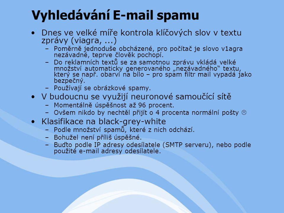 Dnes ve velké míře kontrola klíčových slov v textu zprávy (viagra,...) –Poměrně jednoduše obcházené, pro počítač je slovo v1agra nezávadné, teprve člověk pochopí.