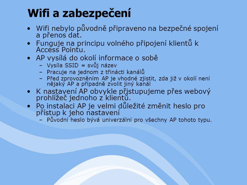 Wifi nebylo původně připraveno na bezpečné spojení a přenos dat.