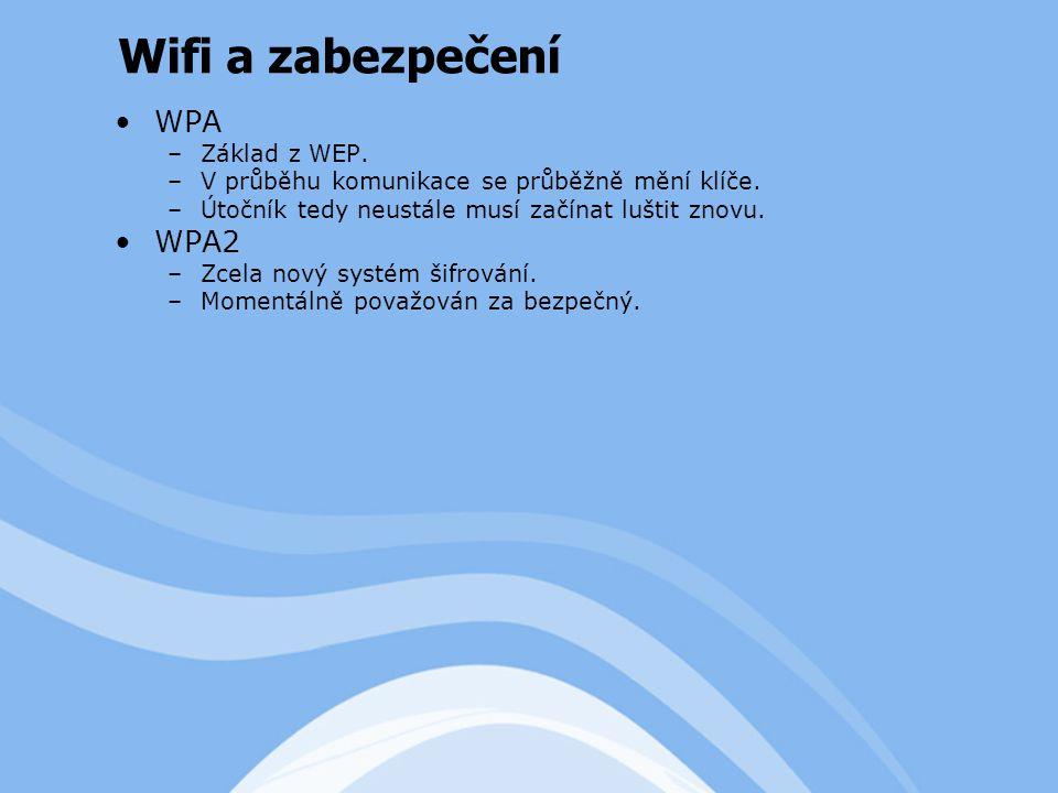 WPA –Základ z WEP. –V průběhu komunikace se průběžně mění klíče.