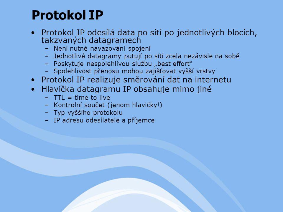 """Protokol IP odesílá data po sítí po jednotlivých blocích, takzvaných datagramech –Není nutné navazování spojení –Jednotlivé datagramy putují po síti zcela nezávisle na sobě –Poskytuje nespolehlivou službu """"best effort –Spolehlivost přenosu mohou zajišťovat vyšší vrstvy Protokol IP realizuje směrování dat na internetu Hlavička datagramu IP obsahuje mimo jiné –TTL = time to live –Kontrolní součet (jenom hlavičky!) –Typ vyššího protokolu –IP adresu odesílatele a příjemce Protokol IP"""
