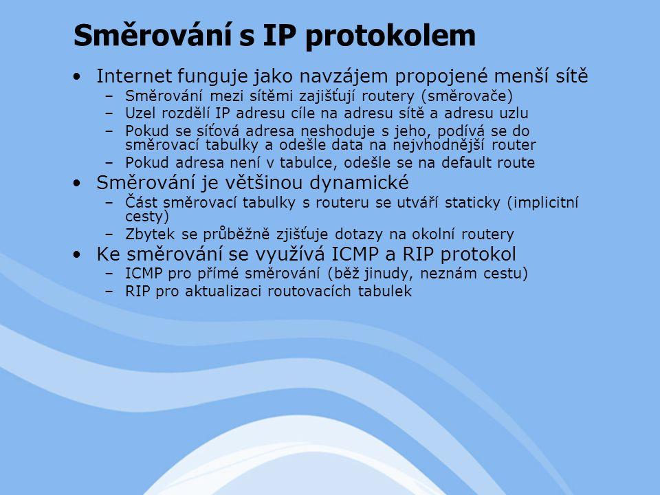 Internet funguje jako navzájem propojené menší sítě –Směrování mezi sítěmi zajišťují routery (směrovače) –Uzel rozdělí IP adresu cíle na adresu sítě a adresu uzlu –Pokud se síťová adresa neshoduje s jeho, podívá se do směrovací tabulky a odešle data na nejvhodnější router –Pokud adresa není v tabulce, odešle se na default route Směrování je většinou dynamické –Část směrovací tabulky s routeru se utváří staticky (implicitní cesty) –Zbytek se průběžně zjišťuje dotazy na okolní routery Ke směrování se využívá ICMP a RIP protokol –ICMP pro přímé směrování (běž jinudy, neznám cestu) –RIP pro aktualizaci routovacích tabulek Směrování s IP protokolem
