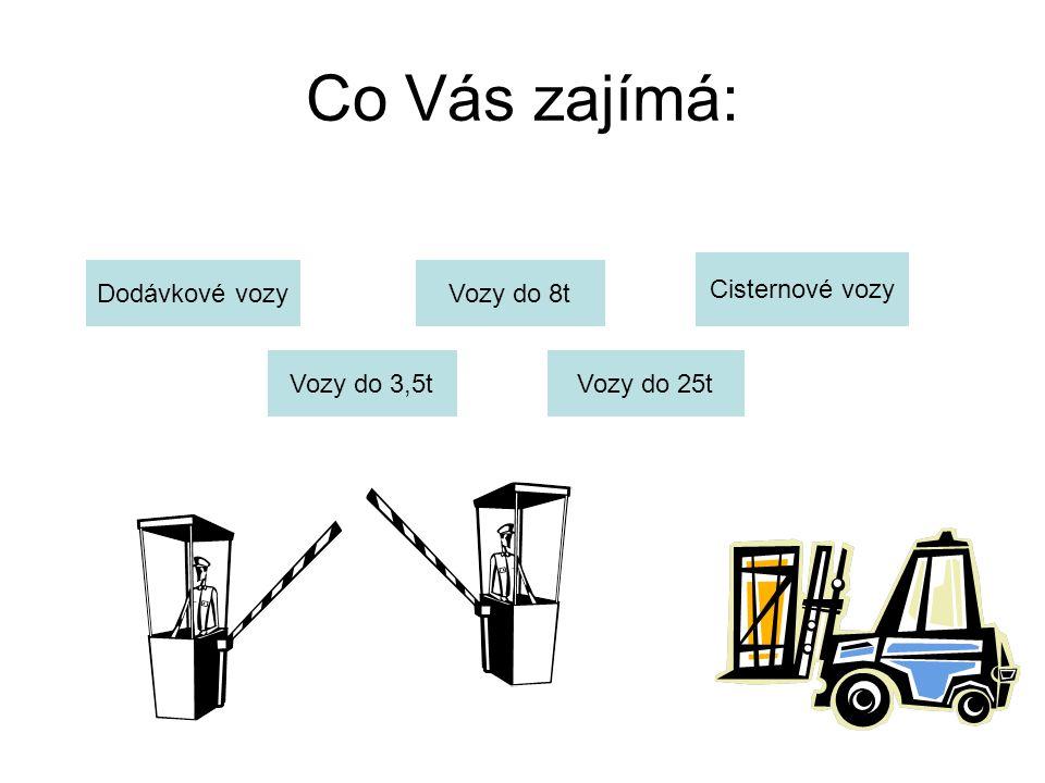 Co Vás zajímá: Dodávkové vozy Vozy do 3,5t Vozy do 8t Vozy do 25t Cisternové vozy