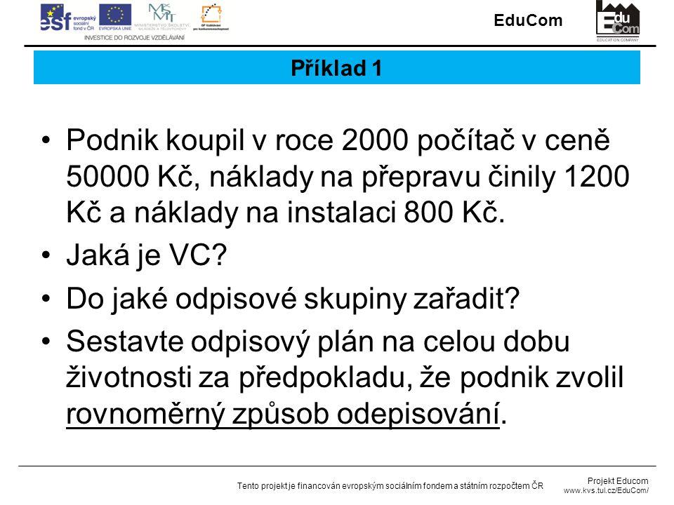 EduCom Projekt Educom www.kvs.tul.cz/EduCom/ Tento projekt je financován evropským sociálním fondem a státním rozpočtem ČR Příklad 1 Podnik koupil v roce 2000 počítač v ceně 50000 Kč, náklady na přepravu činily 1200 Kč a náklady na instalaci 800 Kč.