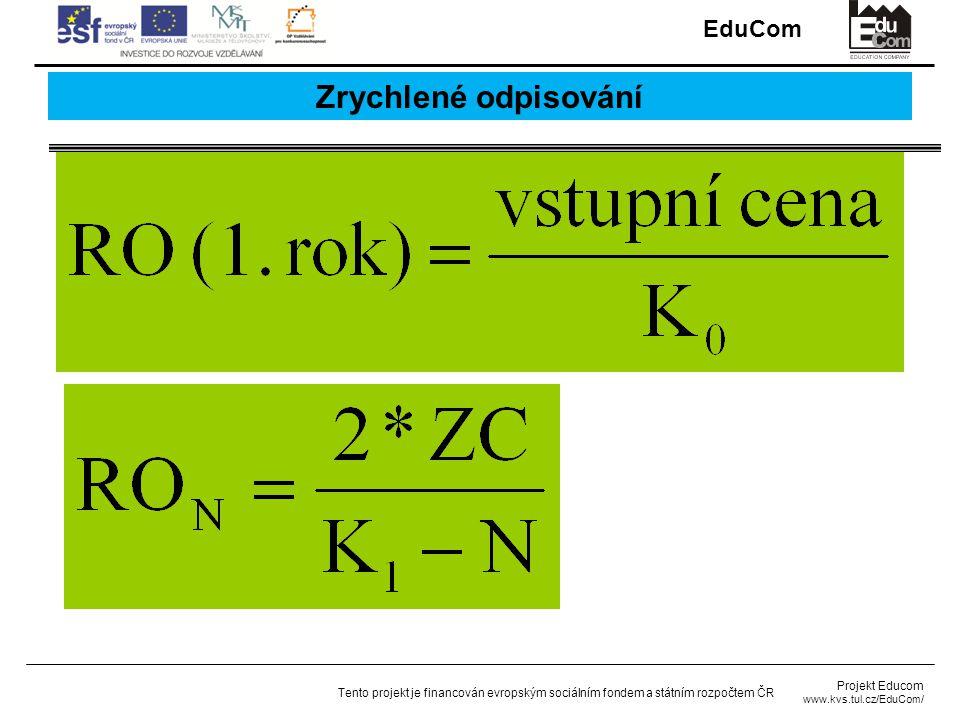 EduCom Projekt Educom www.kvs.tul.cz/EduCom/ Tento projekt je financován evropským sociálním fondem a státním rozpočtem ČR Zrychlené odpisování