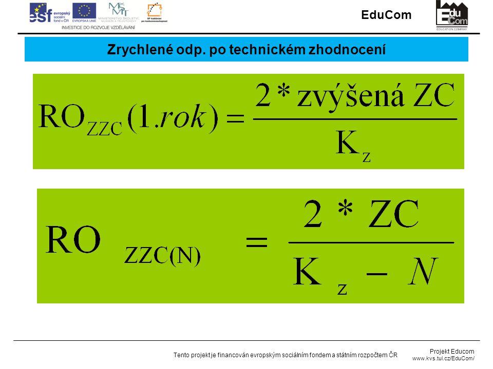 EduCom Projekt Educom www.kvs.tul.cz/EduCom/ Tento projekt je financován evropským sociálním fondem a státním rozpočtem ČR Zrychlené odp.
