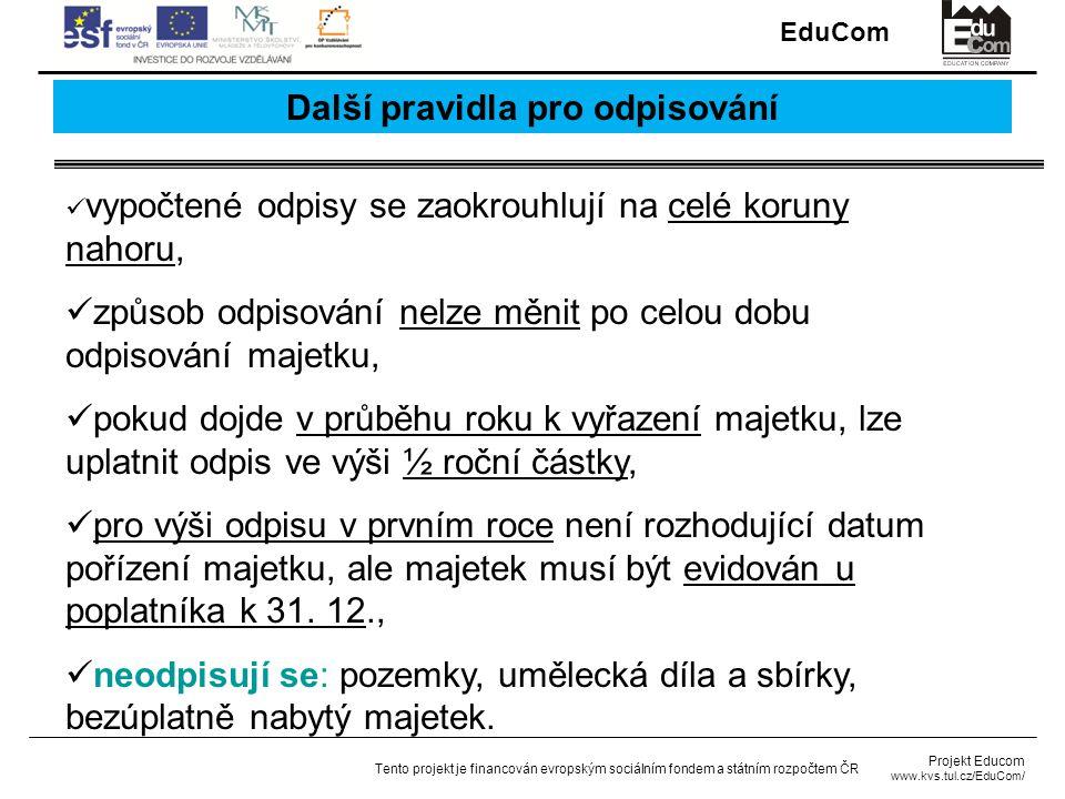 EduCom Projekt Educom www.kvs.tul.cz/EduCom/ Tento projekt je financován evropským sociálním fondem a státním rozpočtem ČR Další pravidla pro odpisování vypočtené odpisy se zaokrouhlují na celé koruny nahoru, způsob odpisování nelze měnit po celou dobu odpisování majetku, pokud dojde v průběhu roku k vyřazení majetku, lze uplatnit odpis ve výši ½ roční částky, pro výši odpisu v prvním roce není rozhodující datum pořízení majetku, ale majetek musí být evidován u poplatníka k 31.
