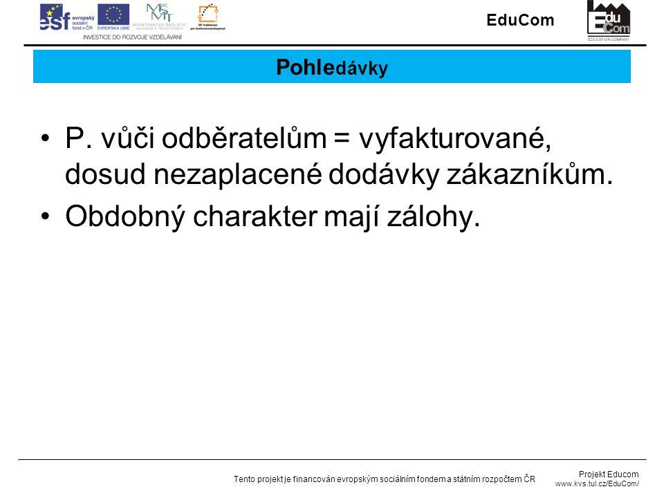 EduCom Projekt Educom www.kvs.tul.cz/EduCom/ Tento projekt je financován evropským sociálním fondem a státním rozpočtem ČR Pohle dávky P.